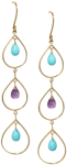3-tier Chandelier earrings with turquoise and amethyst
