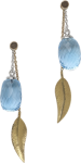 Cocktail long leaf earrings and blue topaz acorns