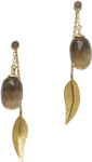 Cocktail long leaf earrings and smoky quartz acorns