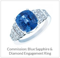 Commission- Blue Sapphire & Diamond Engagement Ring