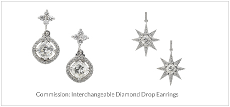 Commission- Interchangeable Diamond Drop Earrings