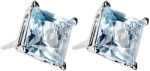 Princess cut blue topaz stud earrings