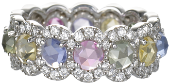 Scalloped eternity band set with multi colour sapphires and diamonds on 18k white gold