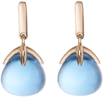 blue topaz cabochon drop earrings in rose gold