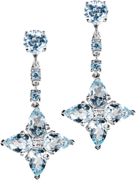 blue topaz studs with detachable blue topaz and diamond flower drops