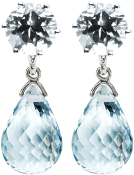 blue topaz studs with detachable briolette drops