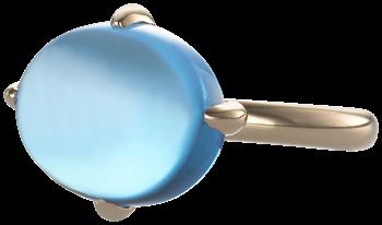 cabochon blue topaz ring on 18k rose gold