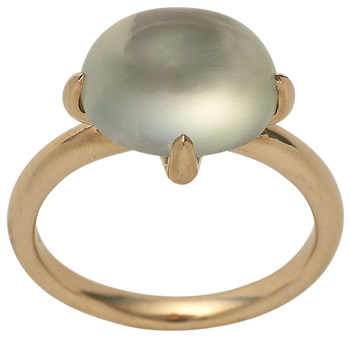 cabochon phrenite ring on 18kk rose gold