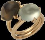 cabochon smoky quartz and phrenite rings together
