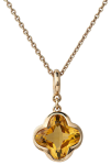 cocktail citrine flower pendant