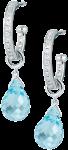 diamond set hoops with detachable blue topaz drops