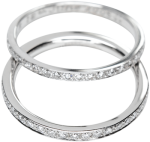 diamond set rings 2mm wide in platinum