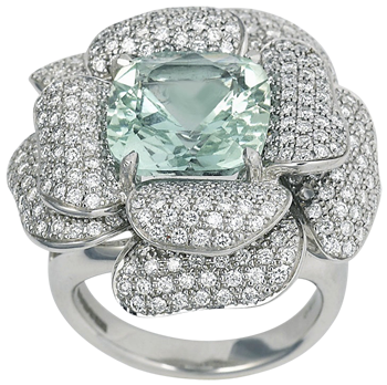 large green beryl and diamond rose ring