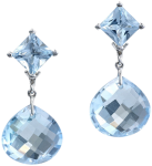 princess cut blue topaz studs with detachable faceted drops