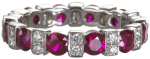 ruby and diamond eternity band set in 18k white gold