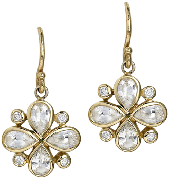 white sapphire and diamond earrings